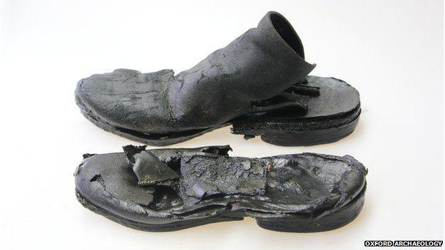 Very well preserved everyday objects, such as these leather shoes were found at the site. Photo Credit: Oxford Archaeology/BBC.
