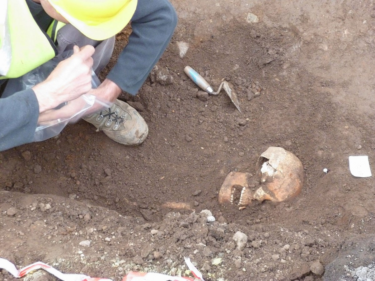 The skeletons have been removed for further study and works continued. Photo Credit: The Press and Journal.
