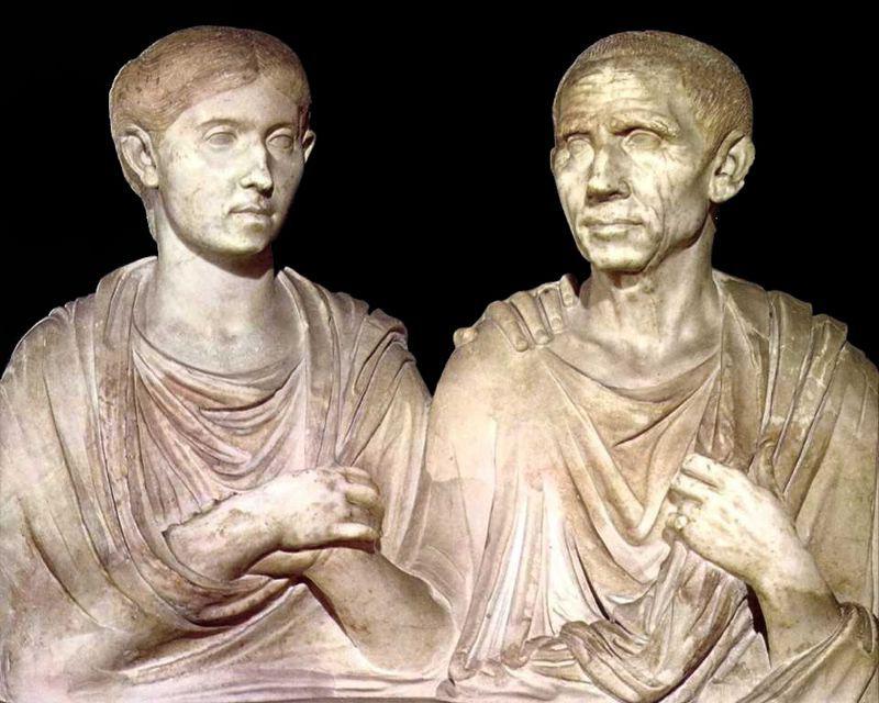 Porcia and Cato. Portrait of a Roman couple. 1st century BCE.