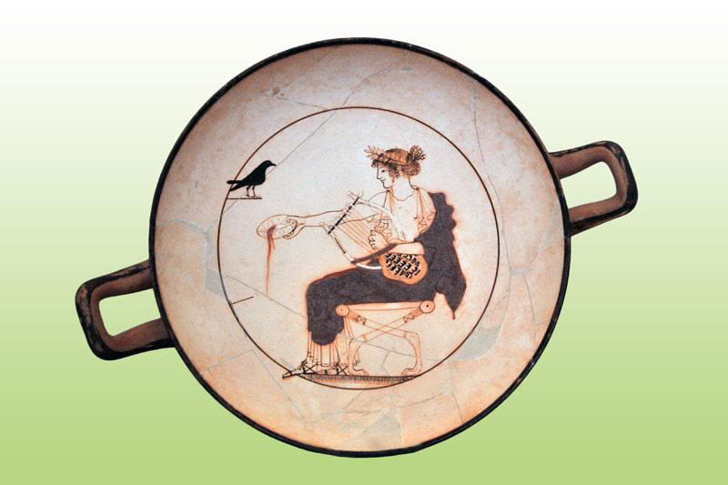 The God Apollo. White kylix, 480-470 BC. Archaeological Museum of Delphi.