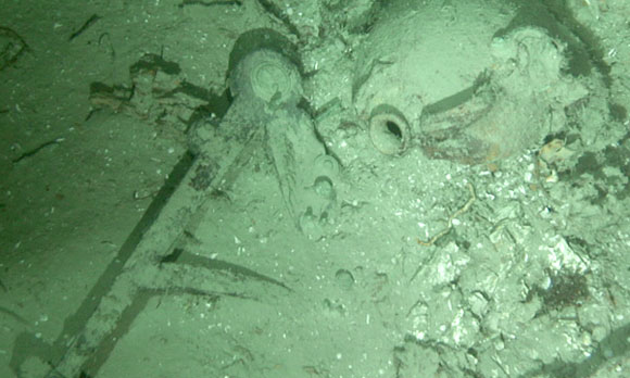 Remnants of the shipwreck in the seabed off of the North Carolina coast. (Credit: Duke University)