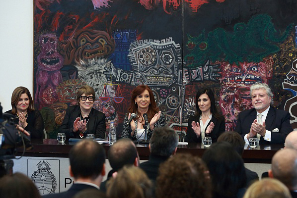 Argentina's president Cristina Fernandez de Kirchner (centre) announced the repatriation of artefacts to Peru and Ecuador during inauguration of modern art galleries.