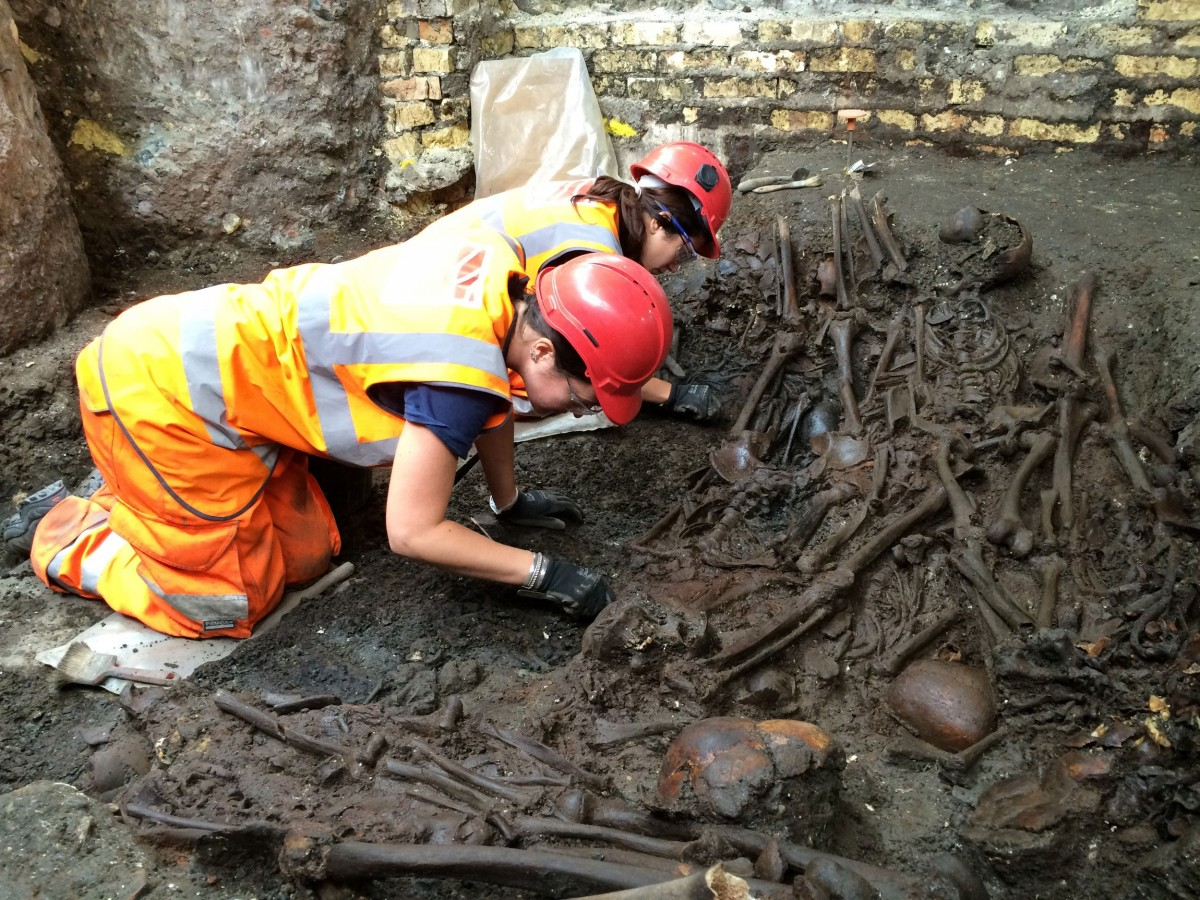 Mass burial uncovered at Crossrail Liverpool Street site.