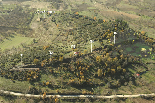 Ancient Feneos: The fortification wall with its 5 towers and the Asklepeion. Credit: Hellenic Ministry of Culture, Education and Religious Affairs.