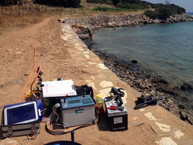 Electrical tomography at Istron beach.