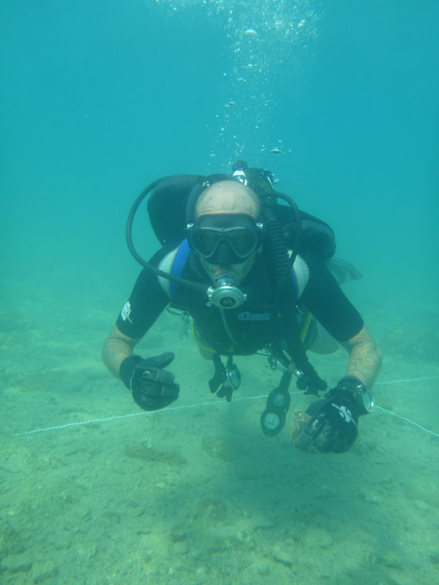 Surface survey at the sunken settlement of Khilada Bay. © Hellenic Ministry of Culture, Education and Religious Affairs