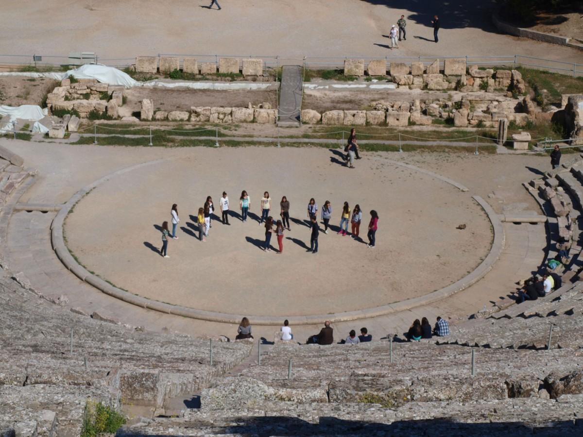 Fig. 2. Rehearsing in the ancient theatre of Epidaurus.