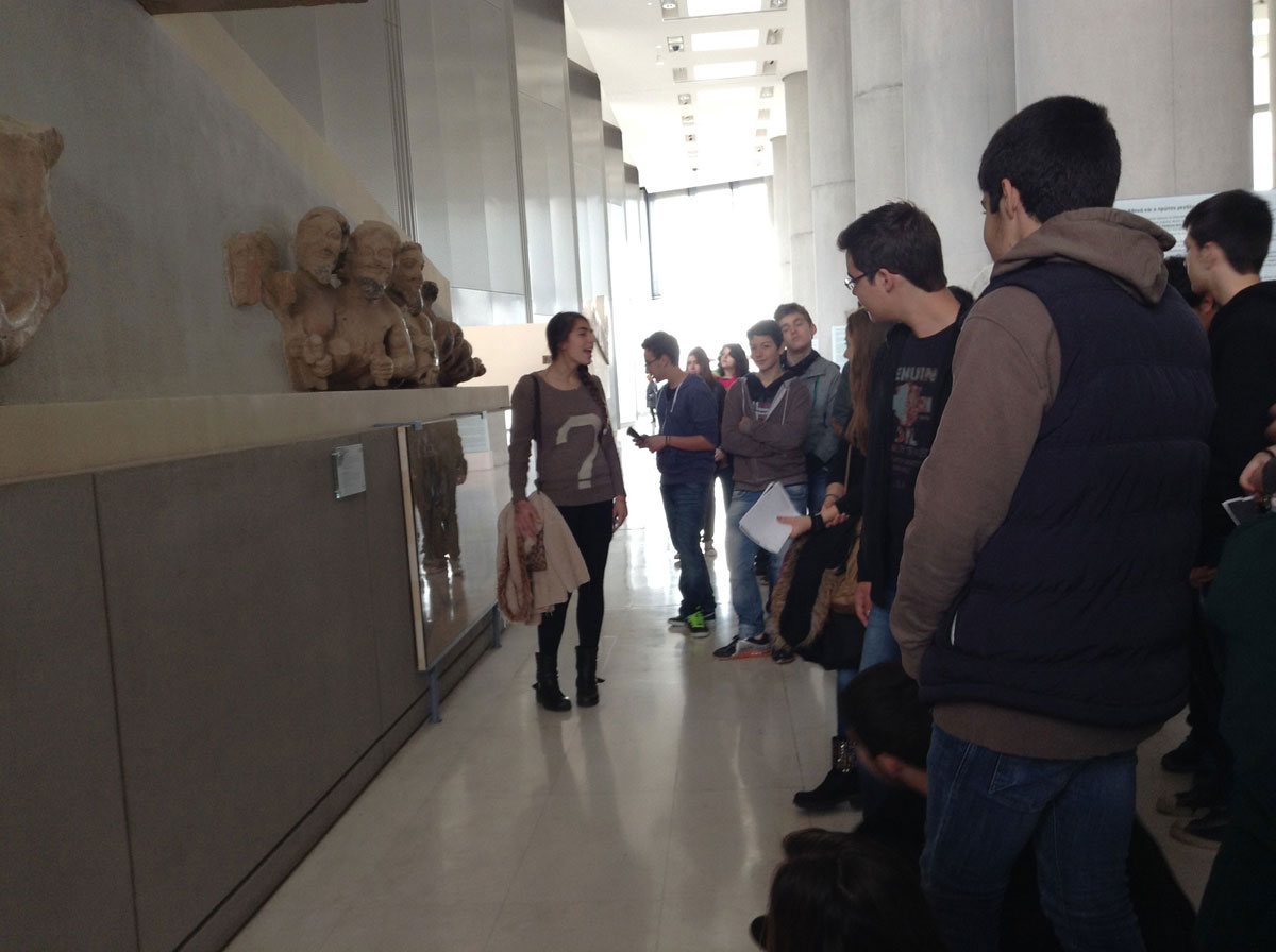 Fig. 4. Teenage guides in the Acropolis Museum.