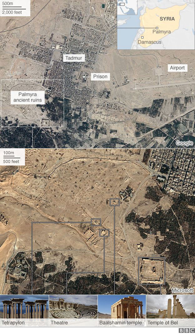 The Palmyra site is close to Damascus and key positions to the IS. Photo Credit: BBC.