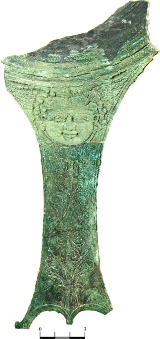 Bronze ladle(?) with image of Gorgon's head  [Credit: Institute of Archaeology,  Russian Academy of Sciences].