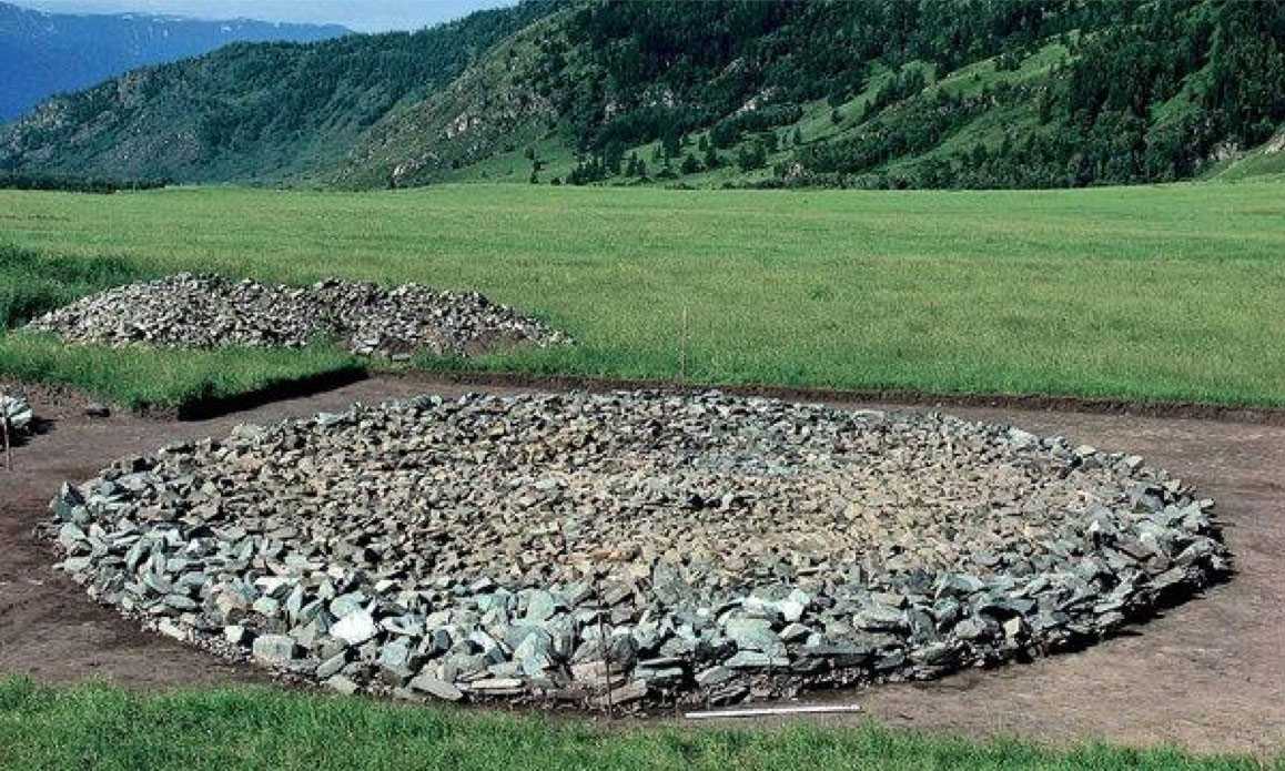 A typical ancient burial mound area in Kazakhstan.