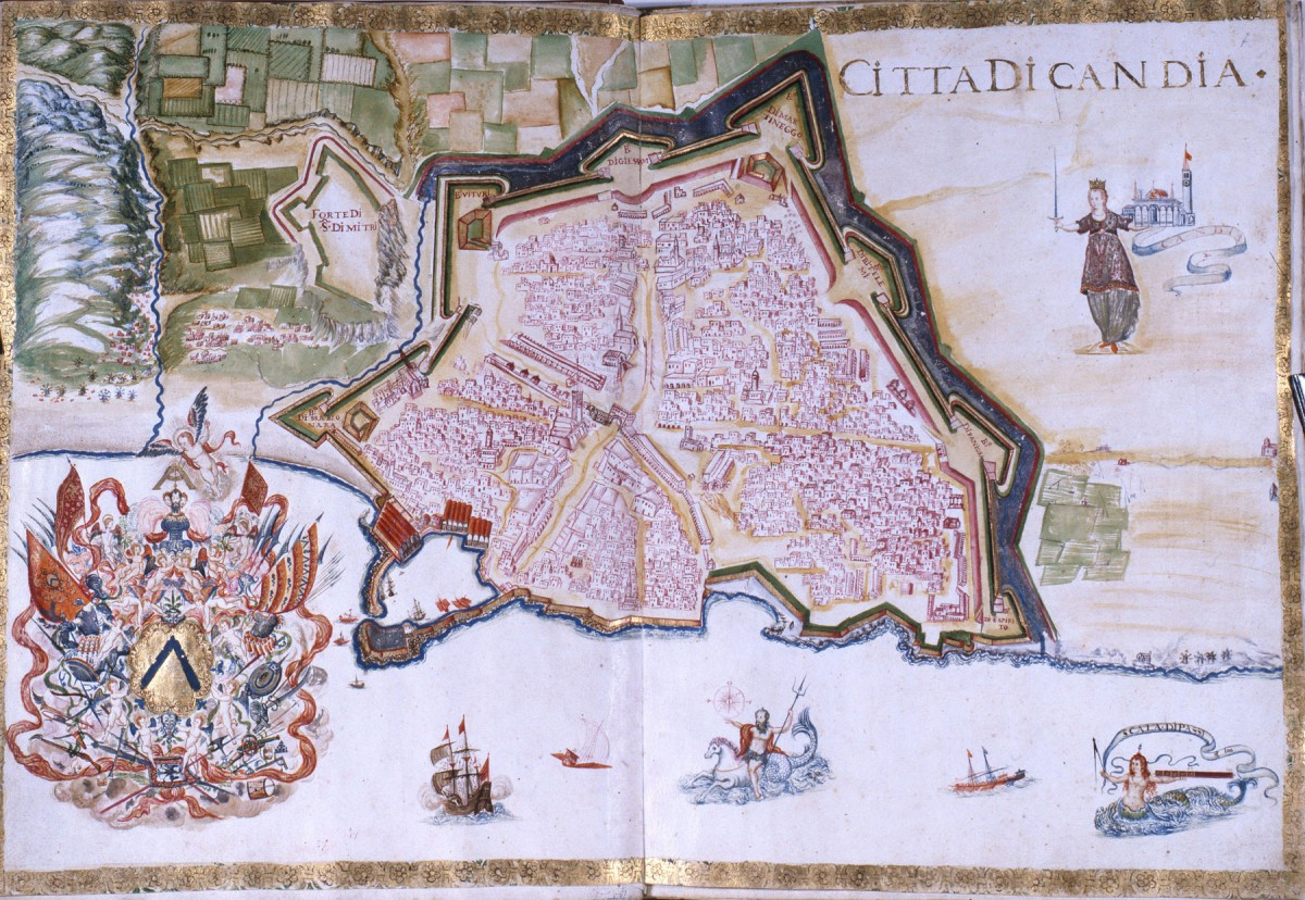 Fig.12. The city and fortifications of Candia. The original fortification is visible (G. Corner 1625).