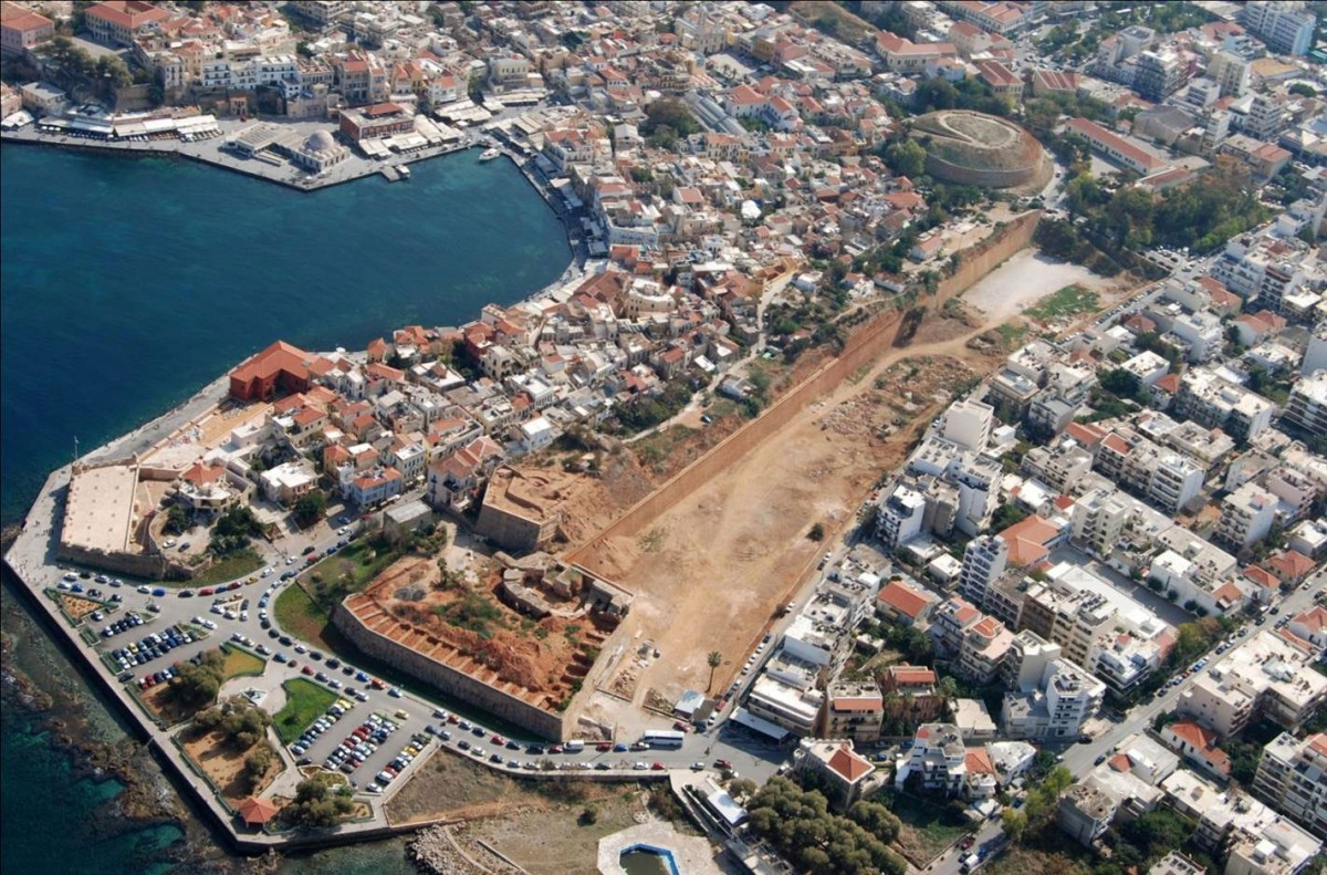 Fig.18. Chania, the fortifications' western front and the Rivellino del Porto, during recent restoration work (photo: Kosmas Kimionis, Aviation club of Chania).