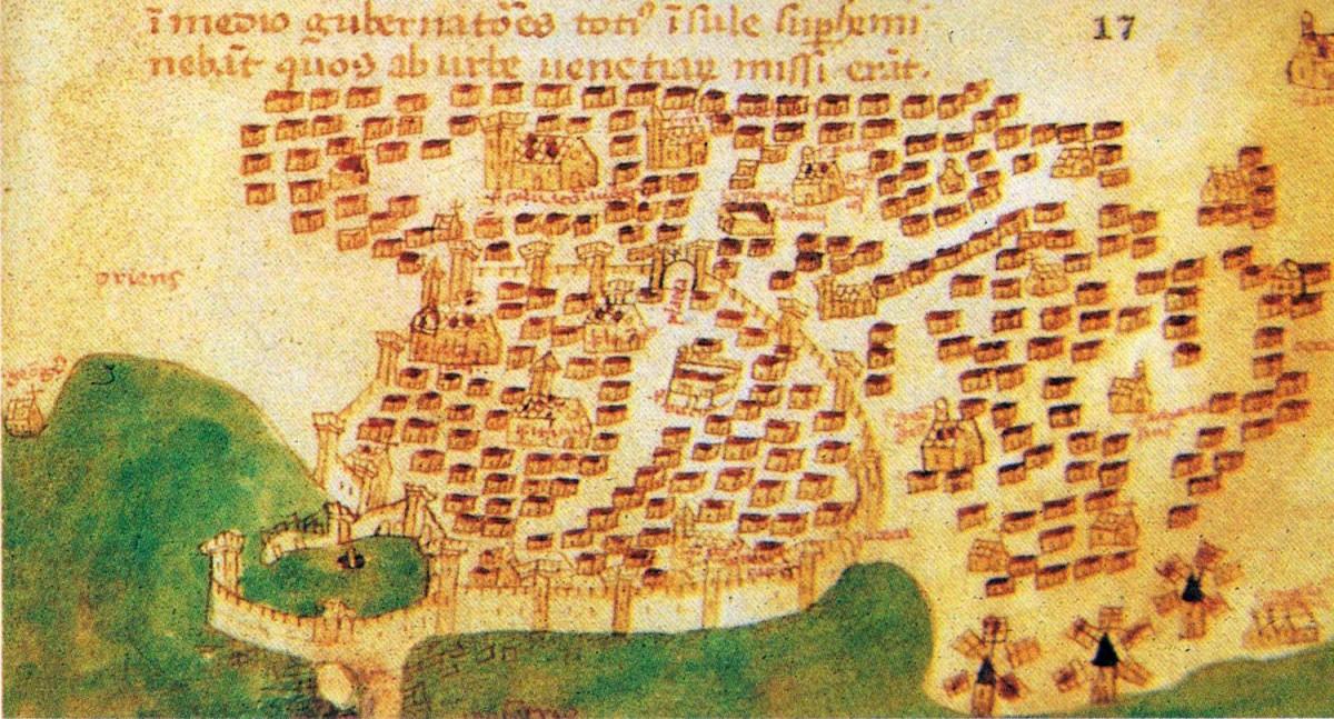 Fig.1. Candia during early Venetian rule (Christoforo Buondelmondi, 1415).
