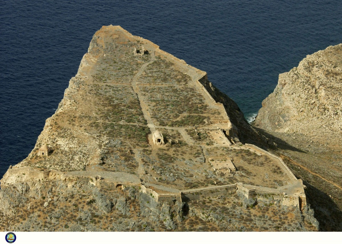 Fig. 23. The Gramvousa fort from the south (photo: Kosmas Kimionis, Aviation club of Chania).