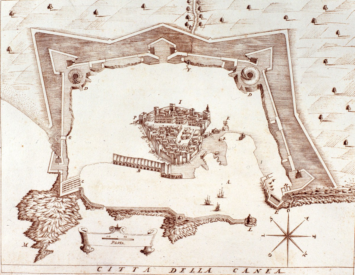 Fig.3. The Chania citadel and the bastion fortifications (H. Nanni 1612).