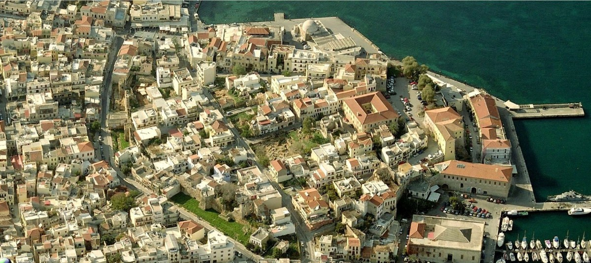 Fig.4. The walled city of Chania, as it was during early Venetian rule, in a photograph of today (a Virtual Earth photograph).