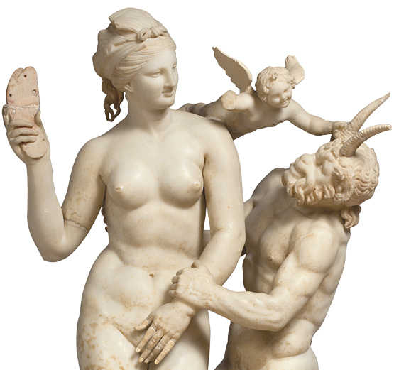 Marble group of Aphrodite with Pan and Eros. About 100 BC. From Delos, House of the Poseidoniasts of Beirut. Exhibition Room: National Archaeological Museum. Inv.no 3335, Room 30.