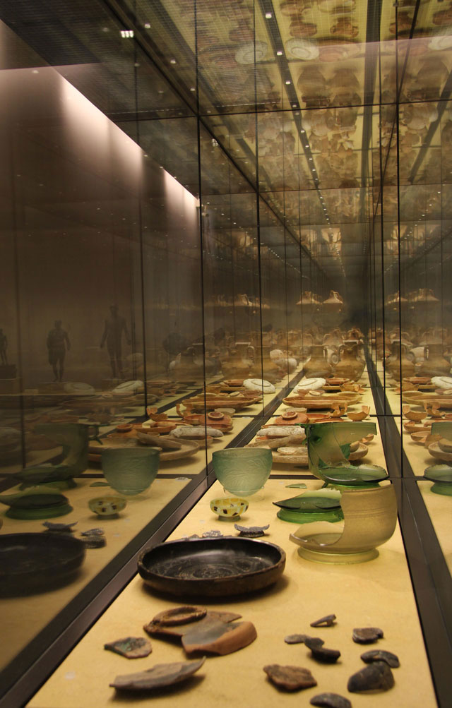 "View of the exhibition ""The Sunken Treasure - The Antikythera Shipwreck"", on show at the Antikenmuseum Basel, in Switzerland."