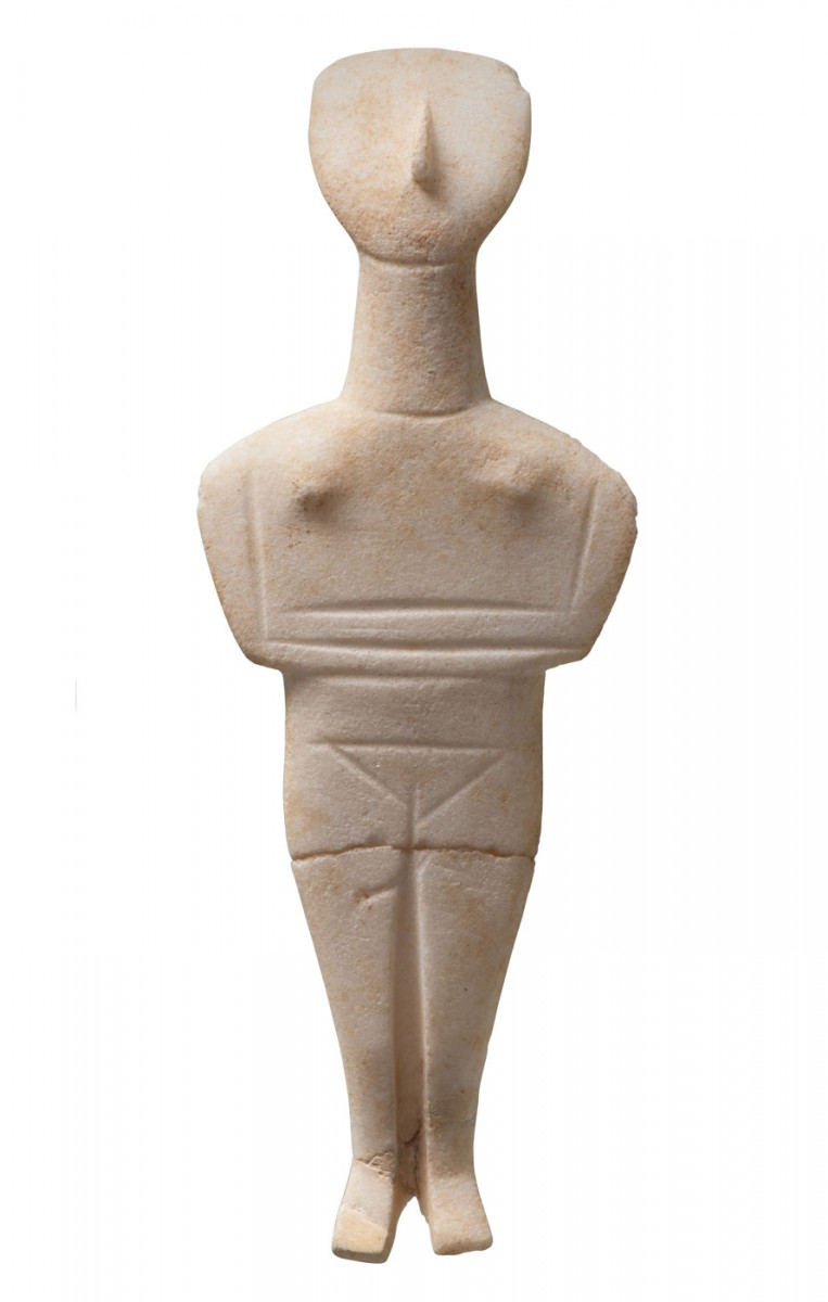 Marble Cycladic-type figurine from the cemetery of Phourni, Archanes.