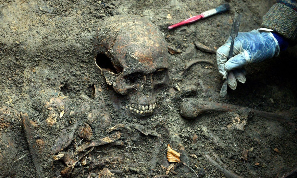 One of the skeletons discovered in a mass grave in Durham that have been identified as the remains of Scottish prisoners after Battle of Dunbar in 1650. Photograph: Craig Connor/NNP/Durham Universi/PA.