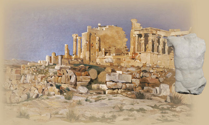 Photographic composition of the oil painting of Josef Theodor Hansen (1848-1912) depicting the Erechtheion, 1881 (Hellenic Parliament Art Collection, inv. no. 337) and the male torso from a high relief, recently attributed to the frieze in the temple's cella, which was completed by the end of the 5th c. BC (inv. no. 15485).