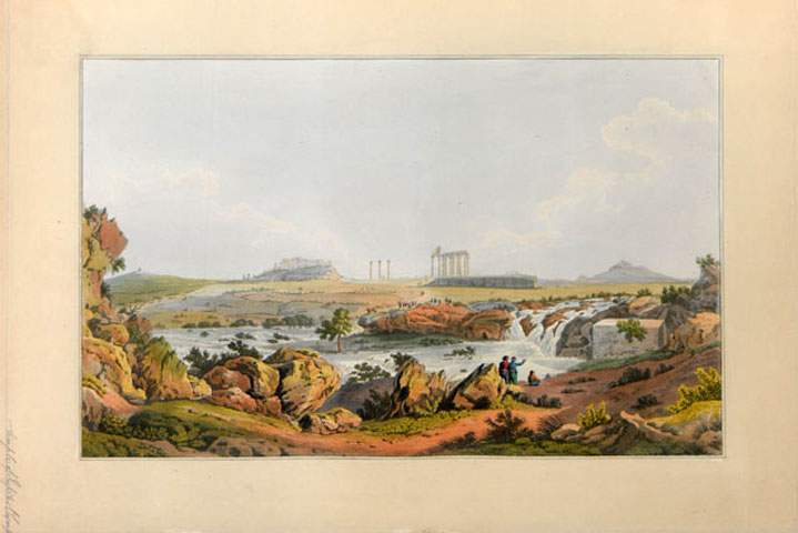 The temple of Olympian Zeus and the river Ilissos. From the book of Edward Dodwell, Views in Greece, London, 1821 (Hellenic Parliament Library, ΣΒΞ (f)ΠΕΡ 1821 VIE) The rocky landscape of Ilissos, near the spring of Kallirhoe. In the background, centrally placed, stands the Temple of Olympian Zeus, to the right the Lykabettus Hill and to the left the Acropolis and the monument of Philopappos.