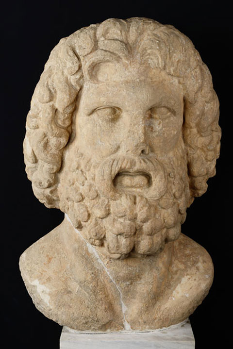 Colossal head of Zeus, found at the site of the Olympian Zeus temple. First half of the 2nd c. AD (inv. no. Θ 234).