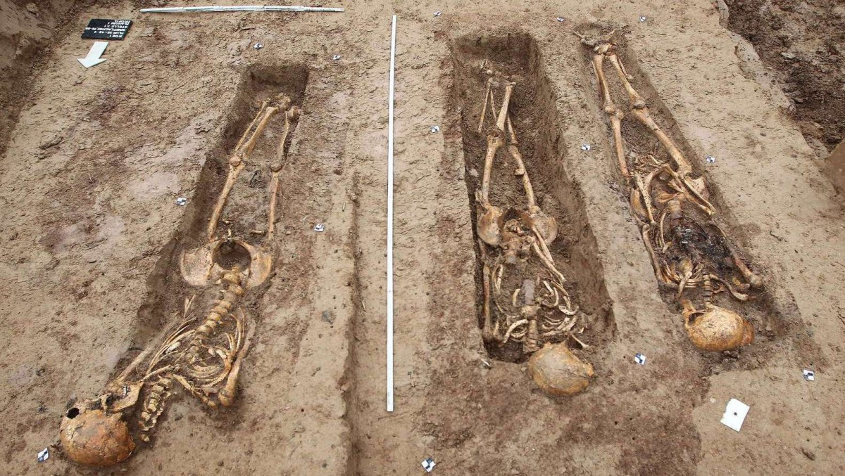 Skeletons of soldiers of the great army of Napoleon, found at a construction site in Frankfurt.