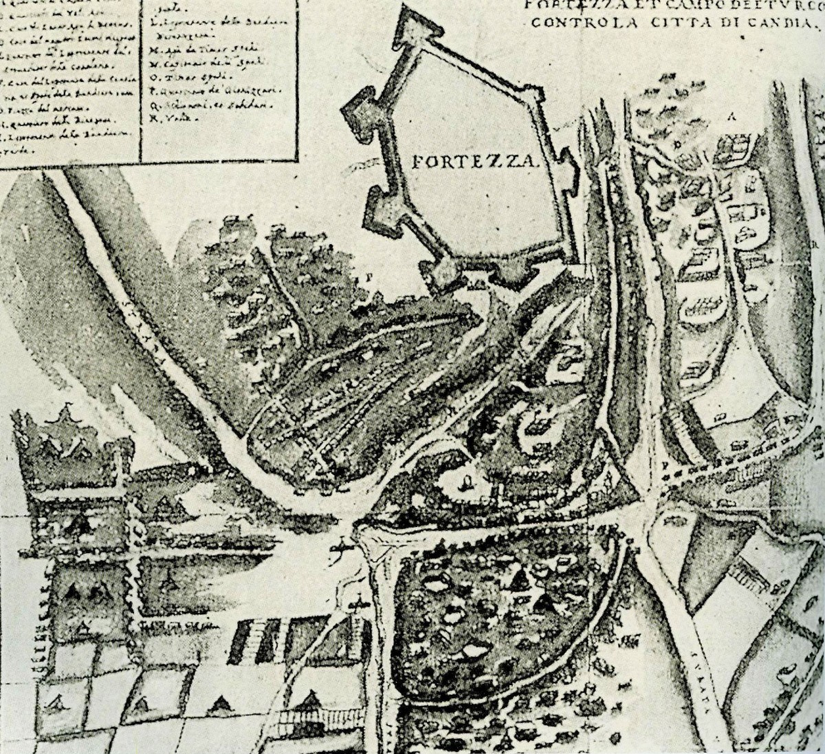 Fig. 1. 17th c. plan of the Inadiye fort (1648-1650), south of the city of Candia.