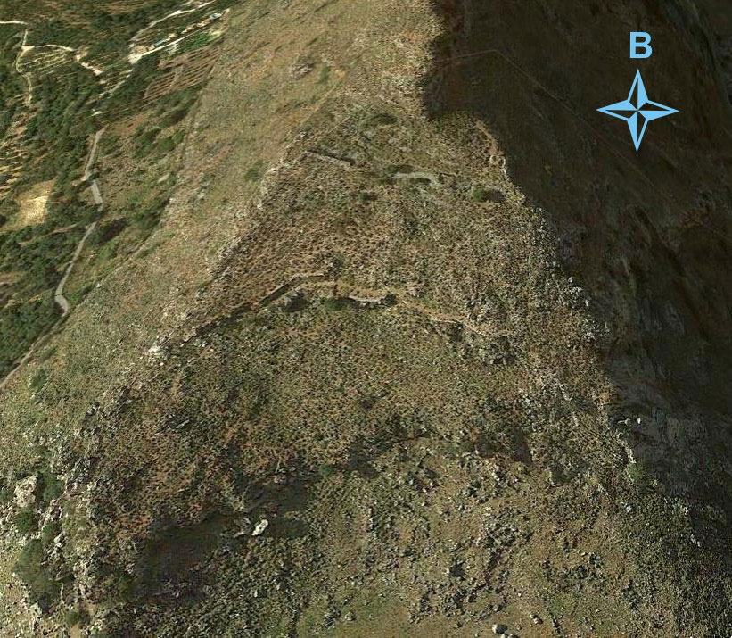 Fig. 12. The fortified area at Malathyro in Kissamos. (Google Earth 2014)