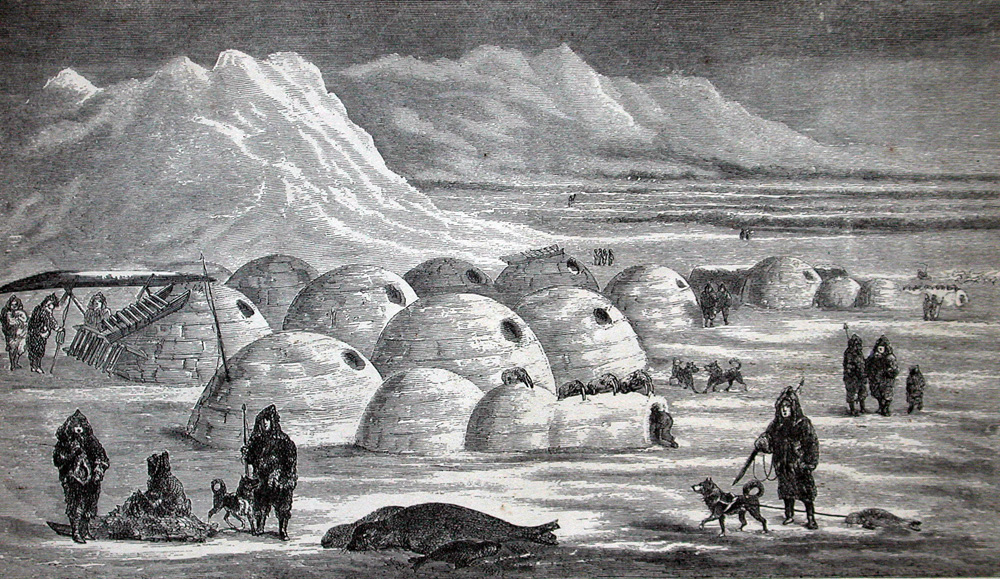Seals and walruses were part of the traditional diet of the Inuit, as seen in this illustration of a native village on Canada's Baffin Island, from the book Arctic Researches and Life Among the Esquimaux (1865) by Charles Francis Hall.