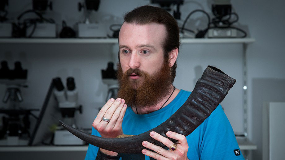 Billy Ó Foghlú, PhD Student at the ANU, reproduced the mouthpiece using 3D printing. Photo Credit: Stuart Hay / ANU.