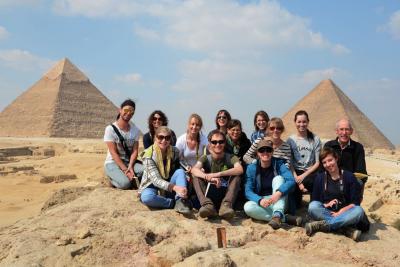 MA students Egyptology and Egyptian Archaeology from The Netherlands and Flanders  at the Giza Plateau.