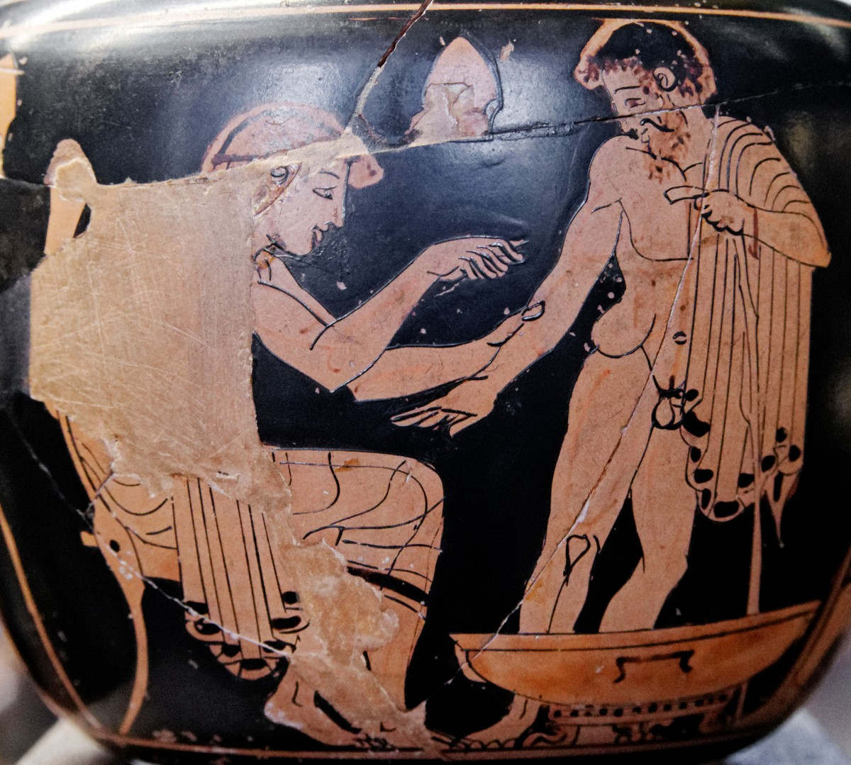 Physician treating a patient. Red-figure Attic aryballos. 480-470 BC. Louvre. Credit:  Creative Commons Attribution 3.0 Unported license.
