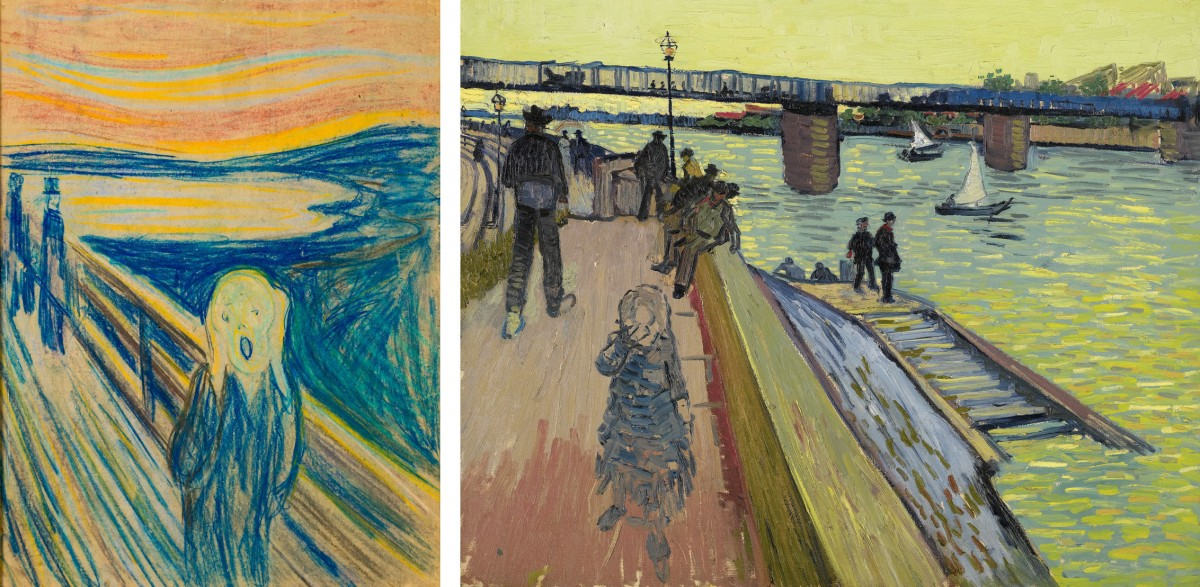 "On the left, Edvard Munch, ""The Scream"", 1893, Munch Museum, Oslo. On the right, Vincent van Gogh, ""The Trinquetaille Bridge"", 1888, Private collection."