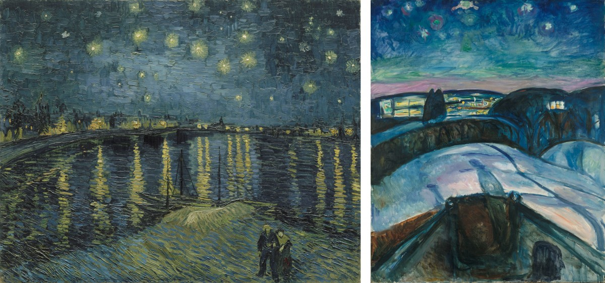 "On the left, Vincent van Gogh, ""Starry Night over the Rhone"", 1888, Musée d'Orsay, Paris, Gift of Mr and Mrs Robert Kahn-Sriber, in memory of Mr and Mrs Fernand Moch, 1975. On the right: Edvard Munch, ""Starry Night"", 1922, Munch Museum, Oslo."
