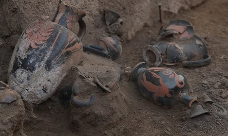 Amphorae found within the tomb. Photo: Photo: Archeological site of Pompeii press office