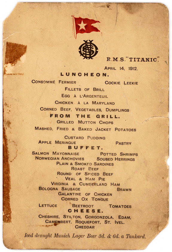 "The menu was saved by a passenger who climbed aboard the so-called ""Money Boat"" before the ocean liner went down. Photo Credit: AP/The Guardian."
