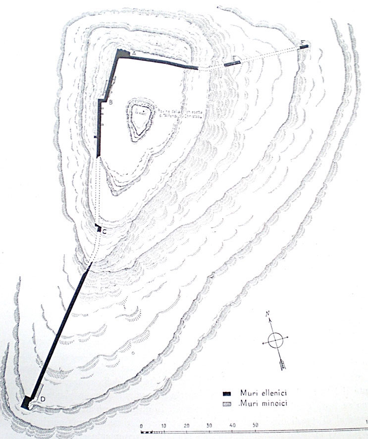 Fig. 10. Phaistos; Hellenistic fortification enclosure on the Afendi Christos hill.