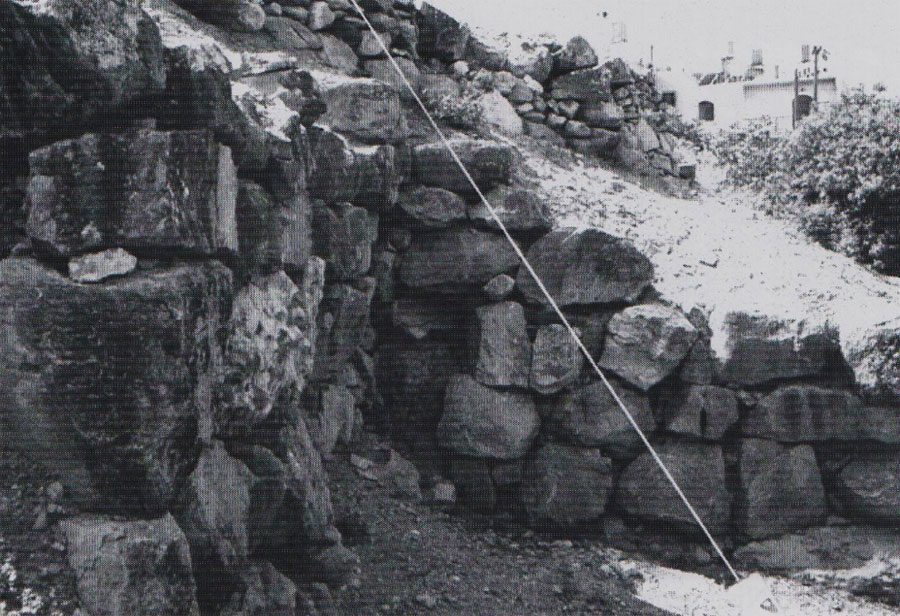 Fig. 3. Petras: Tower of fortification enclosure, at the foot of the palace hill.