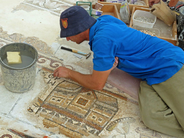 """""""The appearance of buildings on mosaic floors is a rare phenomenon in Israel"""", according to archaeologists Sa'ar Ganor and Dr. Rina Avner of the Israel Antiquities Authority. (Photo credit: Nikki Davidov)"""