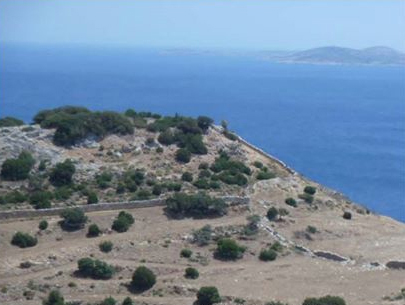 The Early Bronze Age site of Spedos in southeast Naxos, looking south to the island of Schinousa.