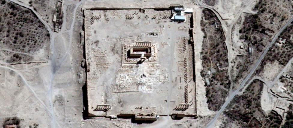 The Temple of Bel's rectangular structure surrounded by columns, as shown before it was destroyed by an explosion. Photo Credit: Unitar/AFP/Getty Image