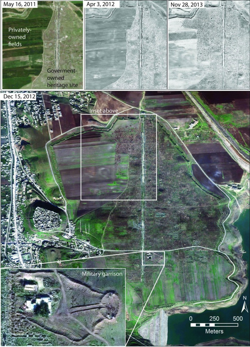 The major Roman/late Roman city of Apamea in western Syria was severely looted during 2012-2013, contemporary with the military occupation of the site by Syrian regime forces. Satellite imagery reproduced courtesy of Digital Globe. Images prepared by Jesse Casana and are included in his paper in Near Eastern Archaeology, September 2015). Credit: Imagery copyrighted to Digital Globe 2015.