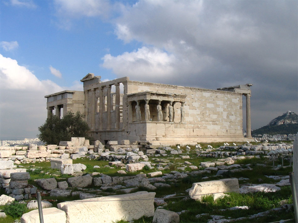 View of the Erechteion from the southwest. (Phoro credit: Acropolis Restoration Service Archive)