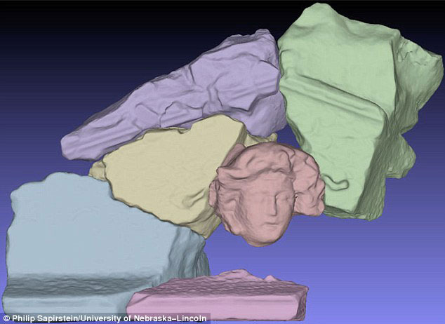 3D models helped the researchers figure out how the Medusa head joined with several other marble fragments to form a pediment. Photo Credit: Philip Sapirstein, University of Nebraska-Lincoln.