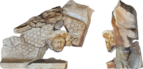 The Medusa head would not have been part of a statue. Instead, it was part of the architecture in one of the city's buildings, likely a temple. Here, fragments of the Medusa pediment have been pieced together using 3-D photogrammetry techniques Photo Credit: Philip Sapirstein, assistant professor of art history at the University of Nebraska-Lincoln.