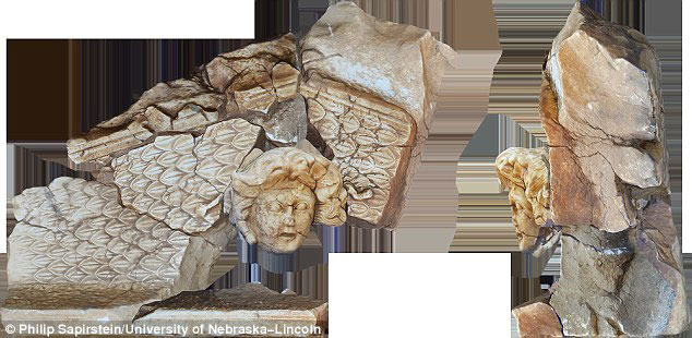 Using 3D photogrammetry techniques to piece the head and other fragments found nearby together (pictured) they found it was part of a pediment – triangular gable – that may have topped a small temple. Photo Credit: Philip Sapirstein/University of Nebraska-Lincoln.