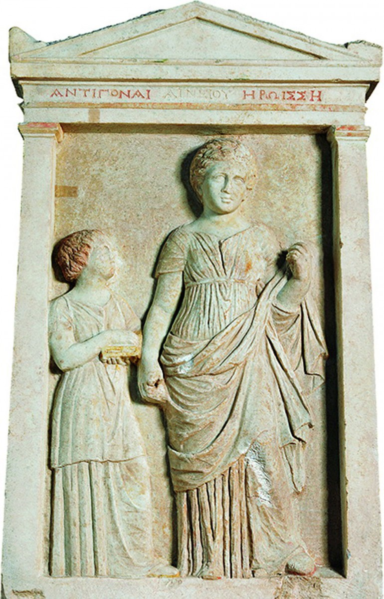 The inscribed marble stele of Antigone discovered  outside the tomb [Credit: Ethnos]